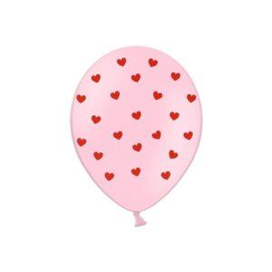 PartyDeco Růžový Balónek s červenými srdíčky