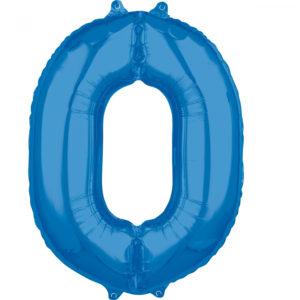 Amscan Fóliový balónek narozeninové číslo 0 modrý 66cm