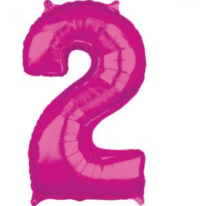 Amscan Fóliový balónek narozeninové číslo 2 růžový 66cm