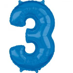 Amscan Fóliový balónek narozeninové číslo 3 modrý 66cm