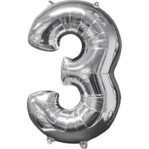 Amscan Fóliový balónek narozeninové číslo 3 stříbrný 66cm