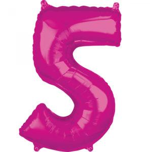 Amscan Fóliový balónek narozeninové číslo 5 růžový 66cm