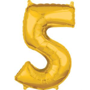 Amscan Fóliový balónek narozeninové číslo 5 zlatý 66cm