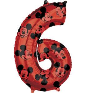 Amscan Fóliový balónek narozeninové číslo 6 - Mickey Mouse 66cm