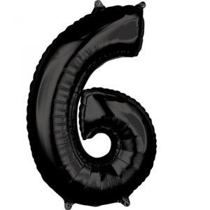 Amscan Fóliový balónek narozeninové číslo 6 černý 66cm