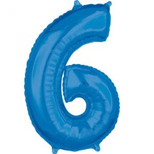 Amscan Fóliový balónek narozeninové číslo 6 modrý 66cm