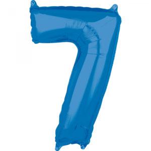 Amscan Fóliový balónek narozeninové číslo 7 modrý 66cm