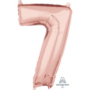 Amscan Fóliový balónek narozeninové číslo 7 růžovo-zlatý 66cm