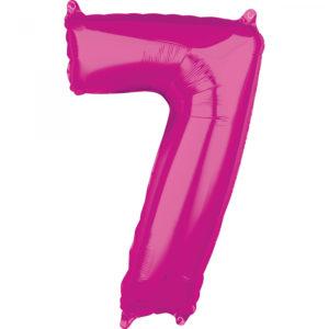 Amscan Fóliový balónek narozeninové číslo 7 růžový 66cm