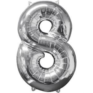 Amscan Fóliový balónek narozeninové číslo 8 stříbrný 66cm