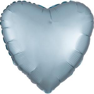 Amscan Fóliový balónek srdce satén - svetlě modrý