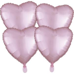 Amscan Fóliový balónek srdce satén - světle ružový 4 ks