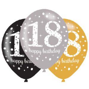 Amscan Latexové balonky 18. narozeniny - 6 ks