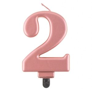 Godan Narozeninová svíčka 2 růžovozlatá