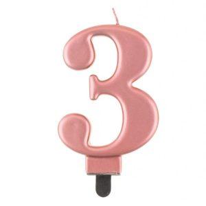 Godan Narozeninová svíčka 3 růžovozlatá