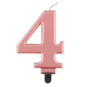 Godan Narozeninová svíčka 4 růžovozlatá