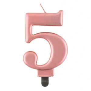 Godan Narozeninová svíčka 5 růžovozlatá