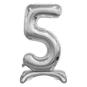 Godan Samostojící fóliový balón 5 stříbrný 74 cm