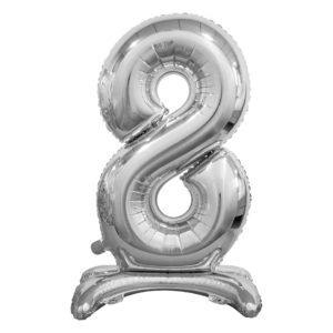 Godan Samostojící fóliový balón 8 stříbrný 74 cm