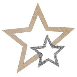 VÁNOČNÍ KONFETY hvězdy dřevěné stříbrné s glitry 3