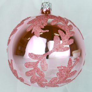 OZDOBA VÁNOČNÍ  Růžový lesk Koule 8cm