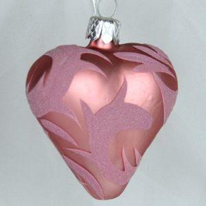OZDOBA VÁNOČNÍ Růžový mat srdce 6cm