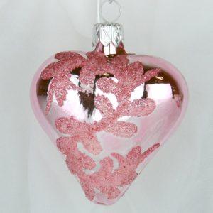 OZDOBY VÁNOČNÍ Růžový lesk srdce 6cm
