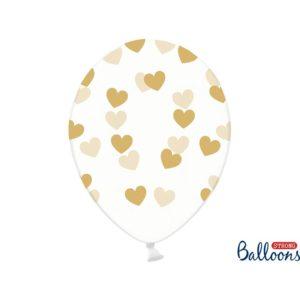 PartyDeco Balónek - Průsvitný se zlatými srdíčky