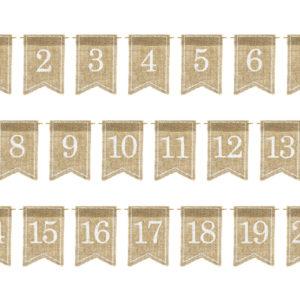 PartyDeco Dekorace na stůl - číslování Juta 20 ks
