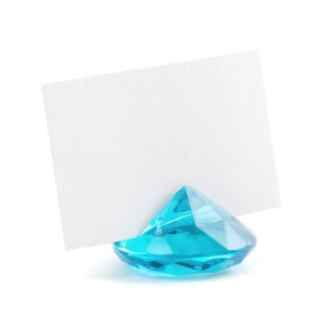 PartyDeco Držák na jmenovky Diamant tyrkysový