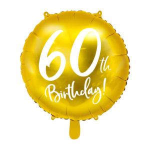 PartyDeco Fóliový balón - 60tka (zlatý)