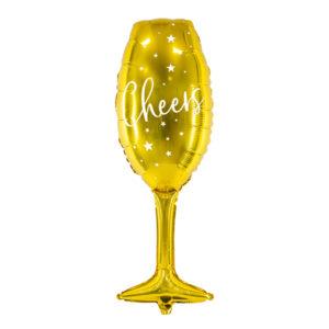 PartyDeco Fóliový balón - Pohár se šampaňským (zlatý)
