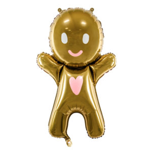 PartyDeco Fóliový balónek Gingerbread Man 58 x 86 cm