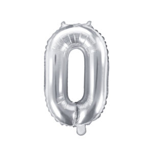PartyDeco Fóliový balónek Mini - Číslo 0 stříbrný 35cm