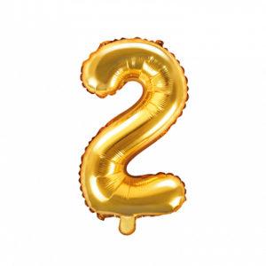 PartyDeco Fóliový balónek Mini - Číslo 2 zlatý 35cm