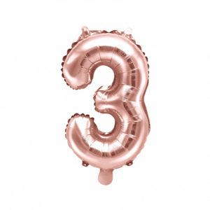 PartyDeco Fóliový balónek Mini - Číslo 3 růžovo-zlatý 35cm