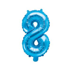 PartyDeco Fóliový balónek Mini - Číslo 8 modrý 35cm