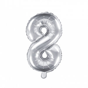 PartyDeco Fóliový balónek Mini - Číslo 8 stříbrný 35cm