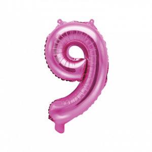 PartyDeco Fóliový balónek Mini - Číslo 9 růžový 35cm