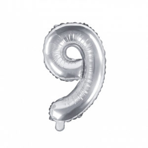 PartyDeco Fóliový balónek Mini - Číslo 9 stříbrný 35cm