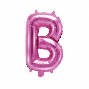 PartyDeco Fóliový balónek Mini - Písmeno B 35cm růžový