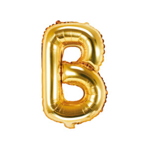 PartyDeco Fóliový balónek Mini - Písmeno B zlatý 35cm