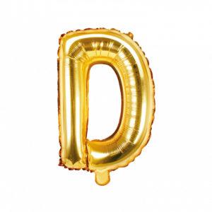 PartyDeco Fóliový balónek Mini - Písmeno D zlatý 35cm