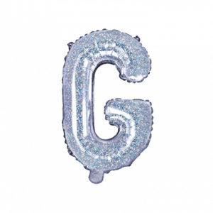 PartyDeco Fóliový balónek Mini - Písmeno G 35cm holografický