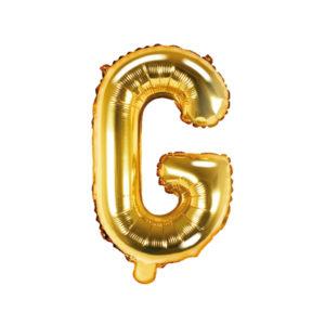 PartyDeco Fóliový balónek Mini - Písmeno G zlatý 35cm