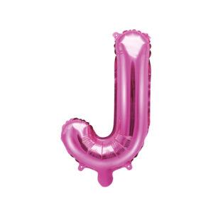 PartyDeco Fóliový balónek Mini - Písmeno J 35cm růžový