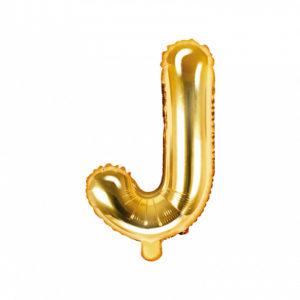 PartyDeco Fóliový balónek Mini - Písmeno J zlatý 35cm