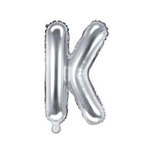 PartyDeco Fóliový balónek Mini - Písmeno K stříbrný 35cm
