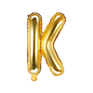 PartyDeco Fóliový balónek Mini - Písmeno K zlatý 35cm