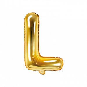 PartyDeco Fóliový balónek Mini - Písmeno L zlatý 35cm
